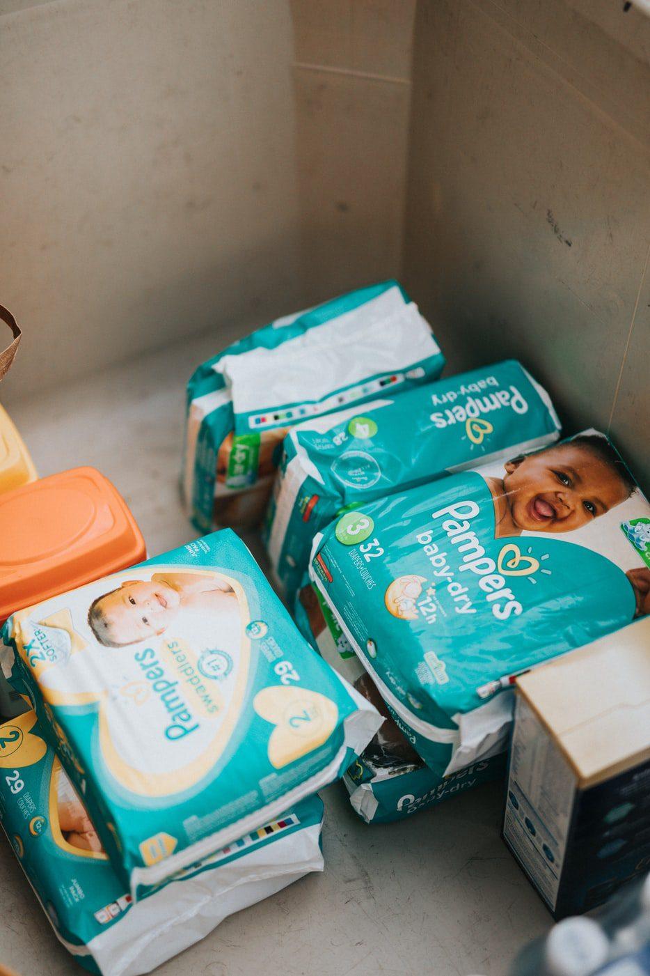 packs of baby diapers